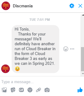 Discmania cloud breaker 2 out of production and cloud breaker 3 coming in the spring 2021